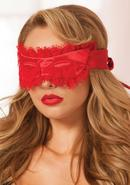 Satin And Lace Eyelash Mask - Red - Os